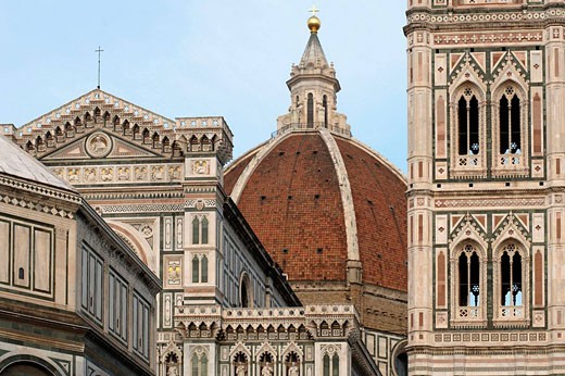 Stock Photo: 1566-512068 Duomo, Cathedral Santa Maria del Fiore and Campanile di Giotto with blue sky during the day, Florence, Tuscany, Italy, Southern Europe