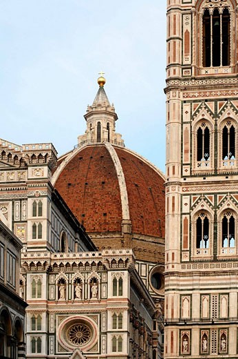 Duomo, Cathedral Santa Maria del Fiore and Campanile di Giotto with blue sky during the day, Florence, Tuscany, Italy, Southern Europe : Stock Photo