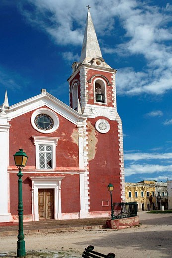 Stock Photo: 1566-512090 The red colored Chapel de Sao Paolo on the Ilha de Mocambique with blue sky(Island of Mozambique), Cabo del Gado Province, Mozambique, Southern Africa