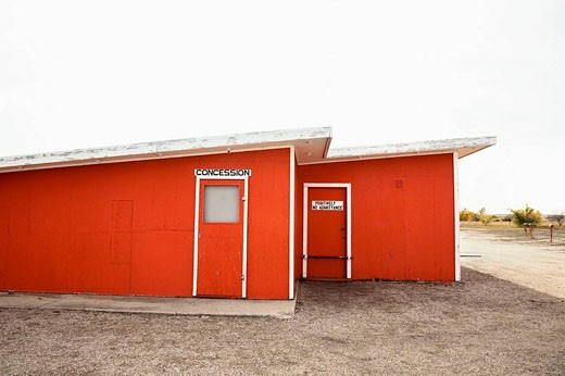 Stock Photo: 1566-512199 Concession door at a drive-in theatre, Canada.