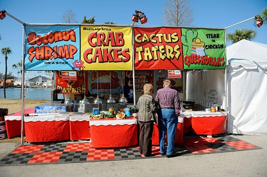 Food Booth at Florida State Fairgrounds Tampa : Stock Photo