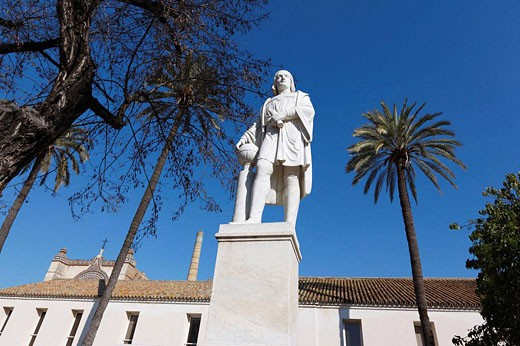 Stock Photo: 1566-513310 Monument of Christopher Columbus in CAAC (Andalusian Centre of Contemporary Art), former Santa Maria de Las Cuevas carthusian monastery, Cartuja Island, Sevilla. Andalucia, Spain, Europe