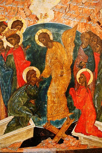 Harrowing of Hell, icon, city museum, Pskov, Pskov region, Russia : Stock Photo