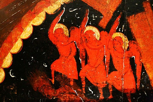 Angels, Harrowing of Hell, icon, city museum, Pskov, Pskov region, Russia : Stock Photo