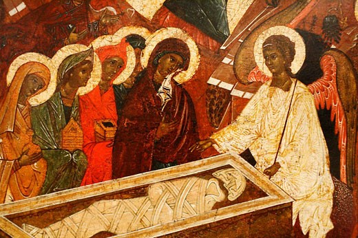 Resurrection, icon, city museum, Pskov, Pskov region, Russia : Stock Photo
