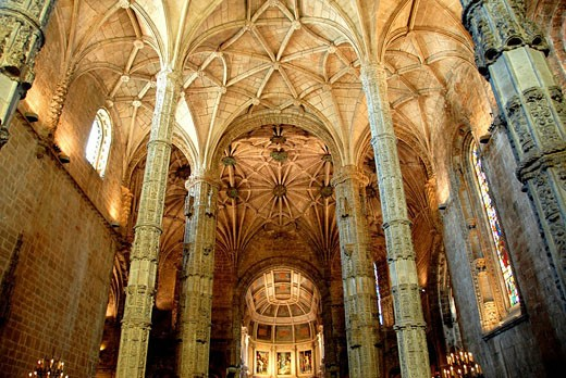 Stock Photo: 1566-513558 Santa Maria Church in the Mosteiro dos Jeronimos. Built in the early 16th century. Belem, Lisbon, Portugal