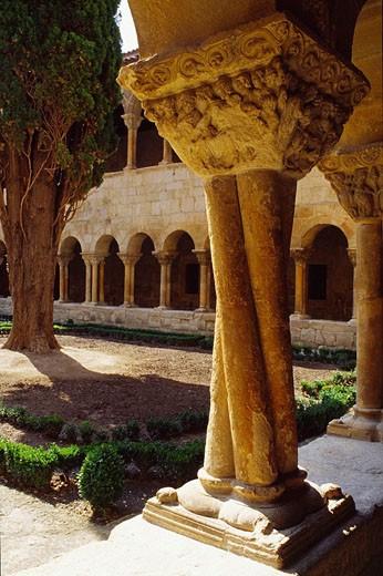 Cloister of Santo Domingo de Silos monastery. Burgos province, Castilla-Leon, Spain : Stock Photo