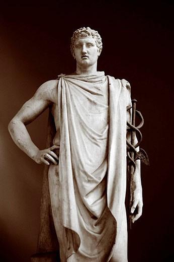 Hermes statue, Braccio Nuovo (New Wing of Museo Chiaramonti), Vatican Museums, Rome, Italy : Stock Photo