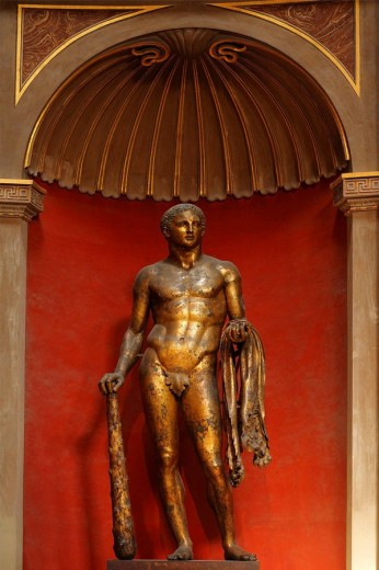 Hercules in gilded bronze statue from the late 2nd century B.C. in Sala Rotonda (Circular Room), Vatican Museums, Rome, Italy : Stock Photo