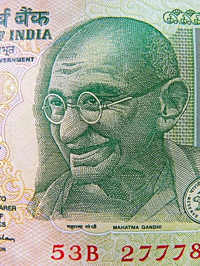 Illustration of Mahatma Gandhi on Indian currency, 5 five Rupees : Stock Photo