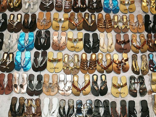 Traditional leather Shoes on display in a shop  Pune, Maharashtra, India : Stock Photo
