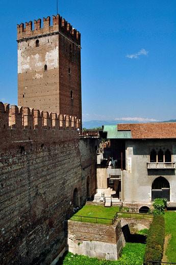 Italy, Veneto, Verona, Castelvecchio Castle, Tower : Stock Photo