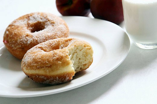 donut with milk and apple fruit : Stock Photo