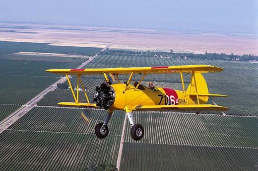 Stock Photo: 1566-515628 Stearman N2S, 1940´s World War II vintage trainer, restored