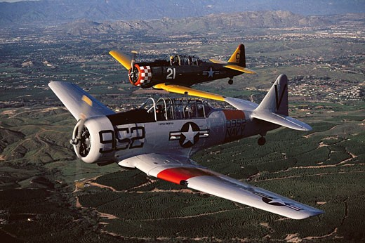 Texan SNJ-5 (T-6 Texan Navy variant), World War II navy trainers, restored : Stock Photo
