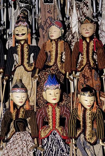 Stock Photo: 1566-515793 Indonesia, Java, Yogyakarta, traditional Wayang Golek puppets