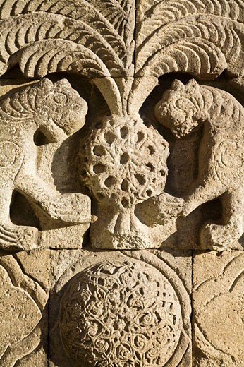 Two lion reliefs on Yakutiye Medrese now seving as Turkish-Islamic Arts and Ethnography Museum, Erzurum, Anatolia, Turkey : Stock Photo