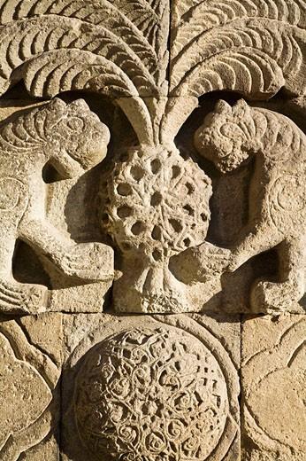 Stock Photo: 1566-516256 Two lion reliefs on Yakutiye Medrese now seving as Turkish-Islamic Arts and Ethnography Museum, Erzurum, Anatolia, Turkey