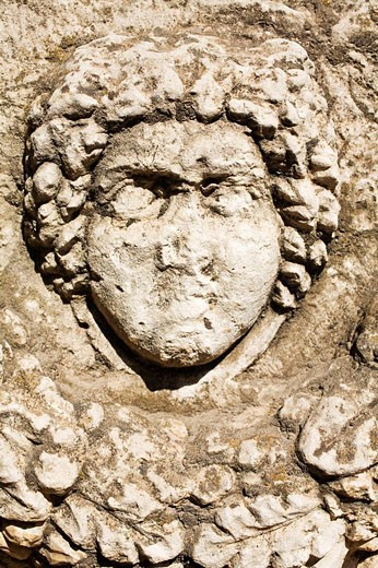 Stock Photo: 1566-516345 Gaziantep museum: Medusa head on Roman Sarcophagus with garland (2nd - 3rd century AD), Zeugma. Gaziantep province, Anatolia, Turkey
