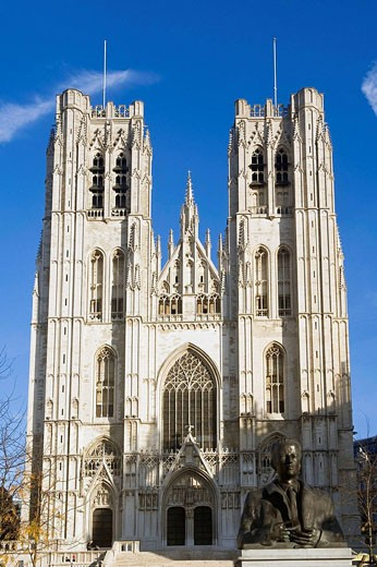 St  Michael and St  Gudula Cathedral, Brussels, Brabant, Belgium : Stock Photo