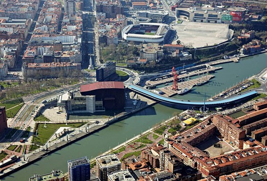 Stock Photo: 1566-517413 Bridge and Palacio Euskalduna, Bilbao, Biscay, Basque Country, Spain