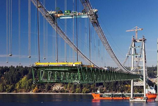 Construction of the new Tacoma Narrows Bridge : Stock Photo