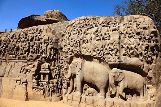 India, Tamil Nadu, Mamallapuram, Mahabalipuram, Arjuna´s Penance : Stock Photo