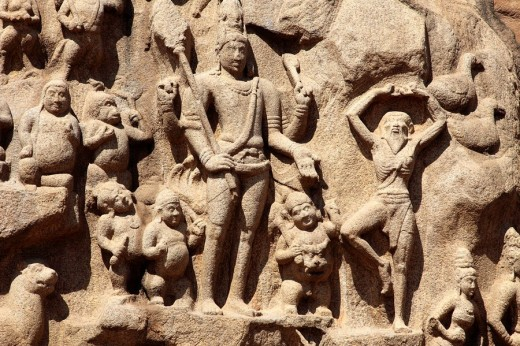 Stock Photo: 1566-518643 India, Tamil Nadu, Mamallapuram, Mahabalipuram, Arjuna´s Penance