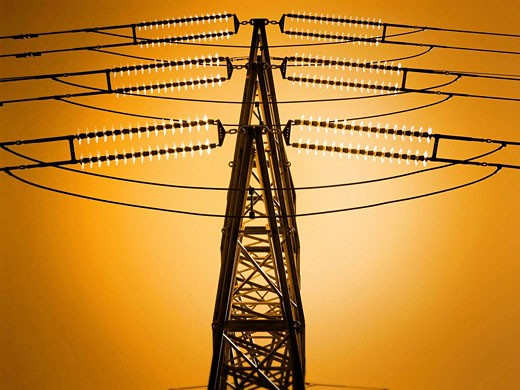 Metal tower transmission and supply of electricity. : Stock Photo