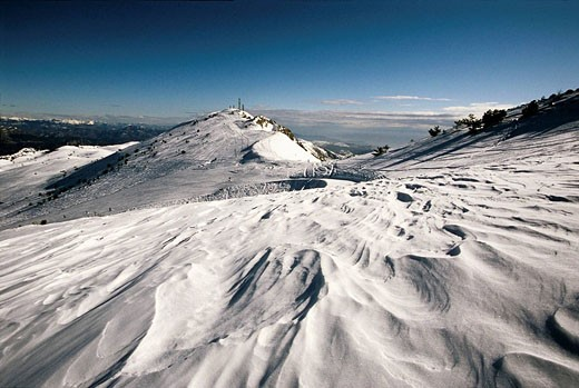 Summits of the Cheiron mountain in the ski station of Greolieres Les Neiges Alpes-Maritimes 06 France Europe : Stock Photo