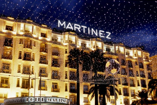 Stock Photo: 1566-519094 The Martinez palace at night during Christmas time on the Croisette Alpes-MAritimes 06 France Europe