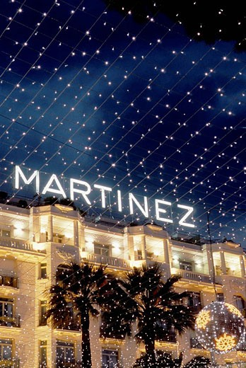 The Martinez palace at night during Christmas time on the Croisette Alpes-MAritimes 06 France Europe : Stock Photo