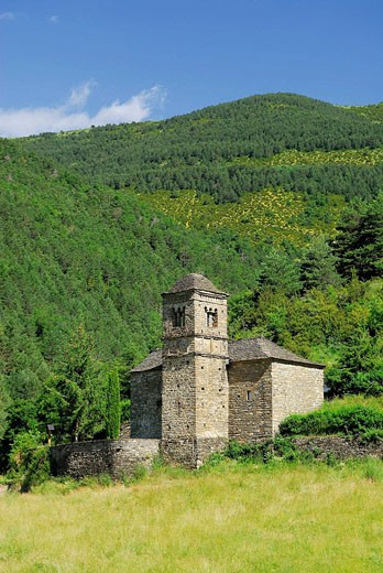 Stock Photo: 1566-519118 Romanesque church of San Bartolomé in Gavín. S.XI. Serrablo. Huesca province. Aragón. Spain