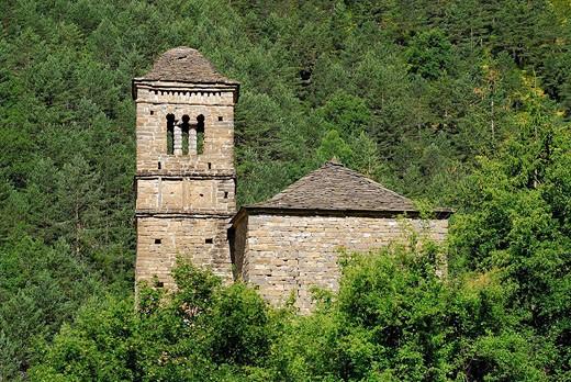 Stock Photo: 1566-519120 Romanesque church of San Bartolomé in Gavín. S.XI. Serrablo. Huesca province. Aragón. Spain