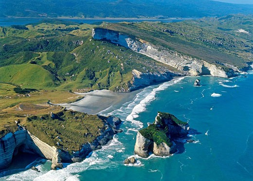 Nguroa Bay south of Cape Farewell West coast South Island New Zealand : Stock Photo