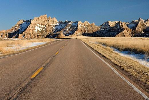 Stock Photo: 1566-520123 Road in Badlands National Park South Dakota USA
