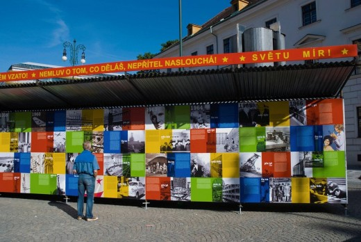 Stock Photo: 1566-521044 Exhibition about totalitarian regimes in the world at namesti Republiky square in central Prague Czech Republic Europe