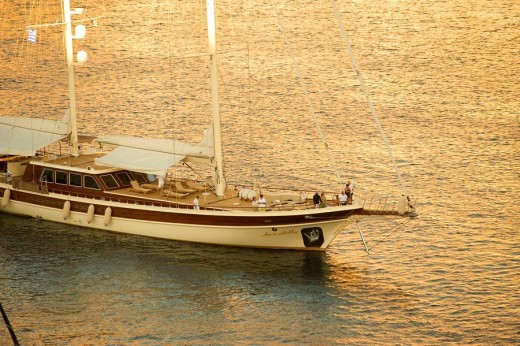 Beautiful sailboat in bay, Simi. Dodecanese islands, Greece : Stock Photo