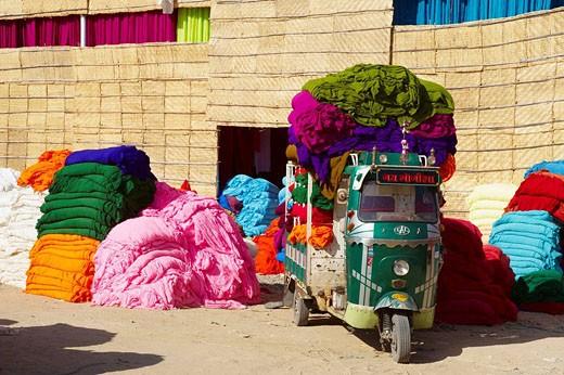 Fabrics for sari manufacture, Rajasthan, India : Stock Photo