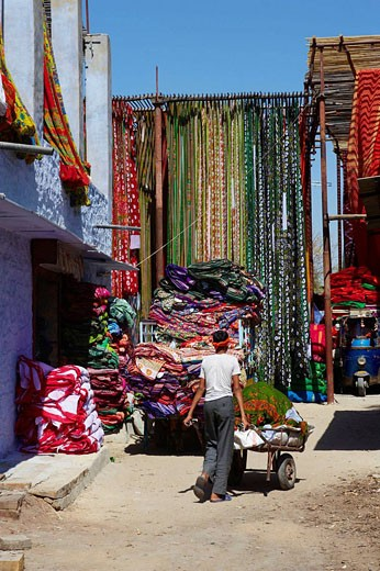 Drying fabric for sari manufacture, Rajasthan, India : Stock Photo