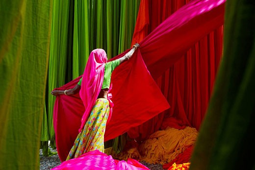 Stock Photo: 1566-521802 Getting fabric off the drying line, sari manufacturing plant, Rajasthan, India