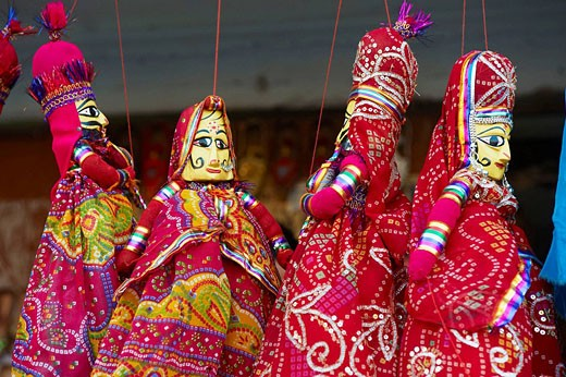 Stock Photo: 1566-521834 Inde, Rajasthan, Jaipur la ville rose, boutique d´artisanat et de souvenir  Marionette  // India, rajasthan, Jaipur the Pink City, handicraft and souvenir shop  Marionette