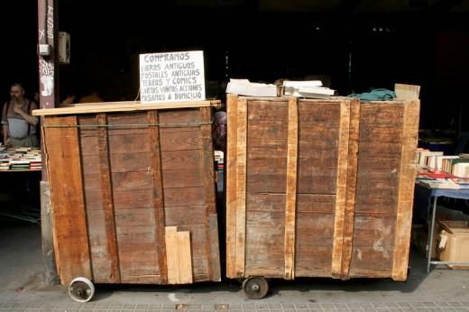 Antiquarian bookshop wagons in Sant Antoni market, Barcelona. Catalonia, Spain : Stock Photo