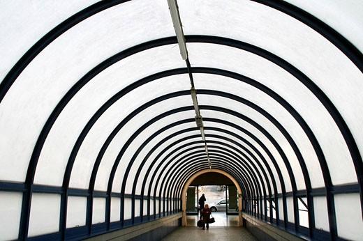 Walkway to Estacio del Nord bus station, Barcelona. Catalonia, Spain : Stock Photo