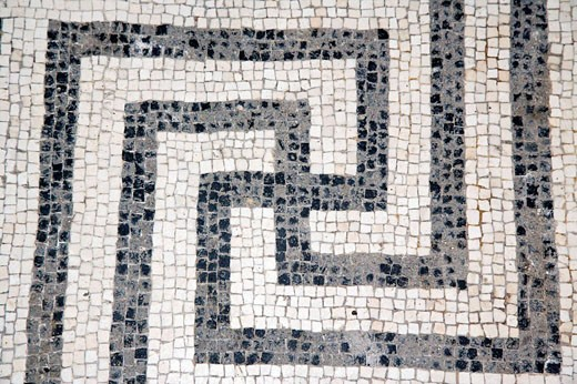 Stock Photo: 1566-523639 Swastika - a common Roman motif in mosaic on the floor of the baths comple, Herculaneum, Italy