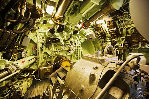 Engine area of the Redoutable (first SNLE submarine of the French Navy, now a museum and the largest submarine in the world open to the public) in the Cite de la Mer (´City of the Sea´) maritime museum, Cherbourg. Manche, Basse-Normandie, France : Stock Photo