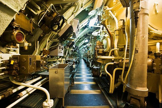 Interior of the Redoutable (first SNLE submarine of the French Navy, now a museum and the largest submarine in the world open to the public) in the Cite de la Mer (´City of the Sea´) maritime museum, Cherbourg. Manche, Basse-Normandie, France : Stock Photo