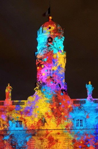 Lyon´s Festival of Lights is a four-day event where contemporary light installations illuminate the city. Rhône-Alpes, France : Stock Photo