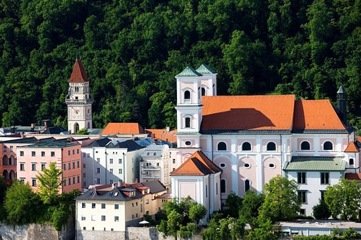 Inn River and St. Michaels church, Passau, Bavaria, Germany : Stock Photo