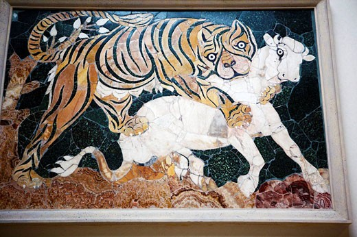 Panel in opus sectile with tiger assaulting a calf (first half of 4th century AC) from the Basilica of Junius Bassus, Capitoline Museums, Rome, Italy : Stock Photo